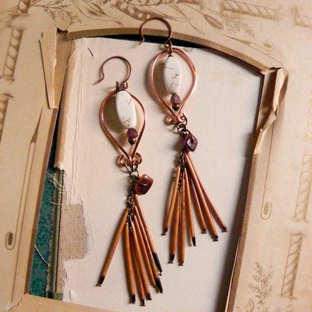 Autumn - Tribal porcupine quill earrings - artisan earrings