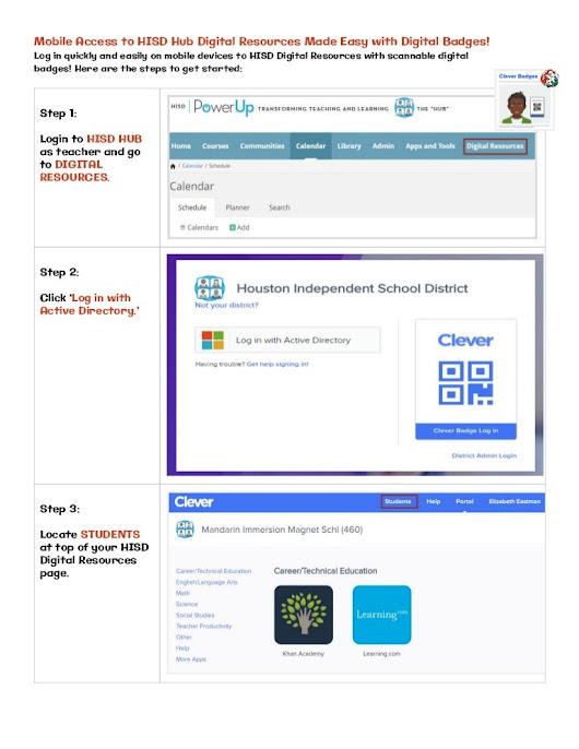 Quick Access to HISD HUB Digital Resources with Digital Badges