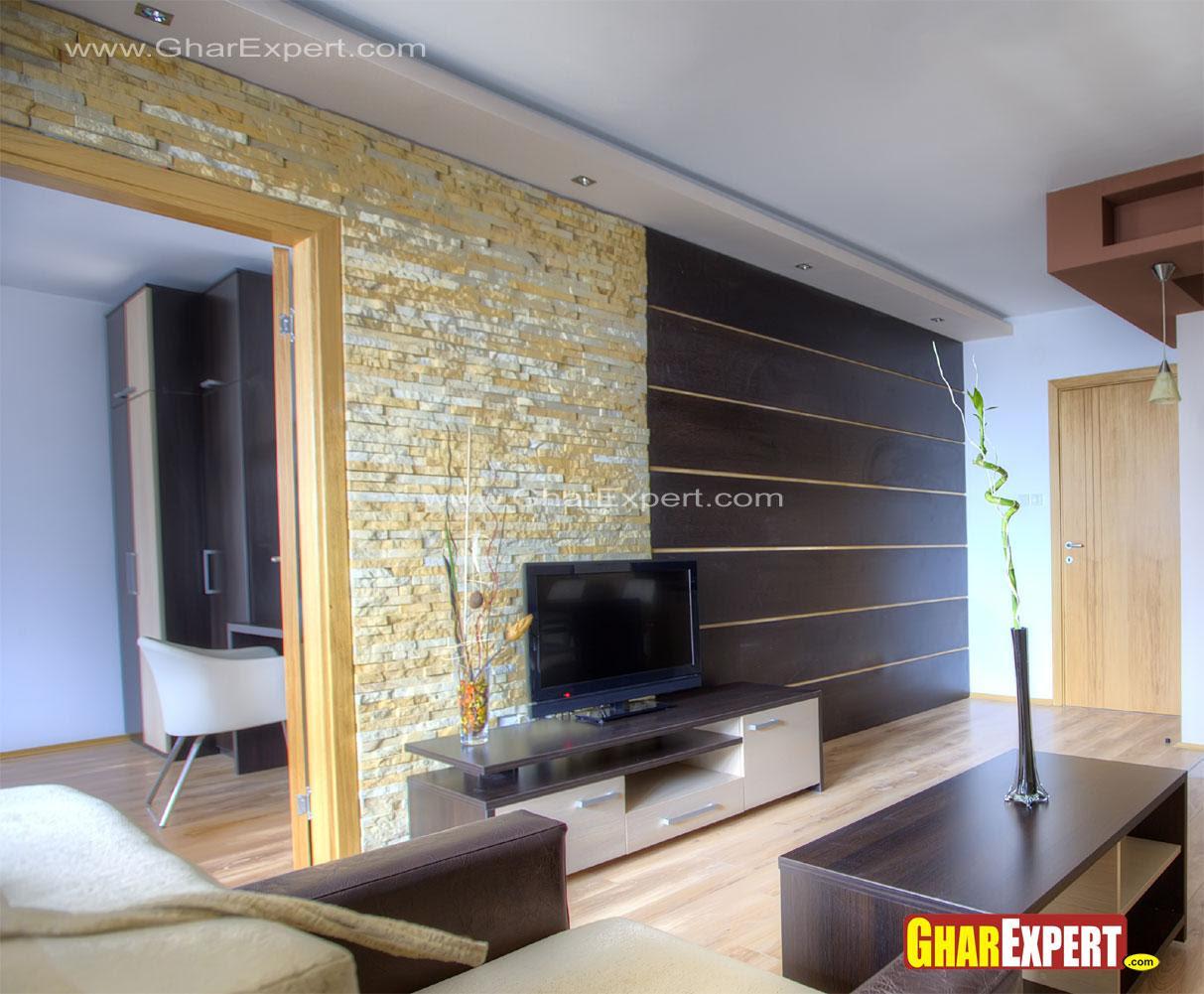 Lcd Unit Wall Design In Living Room Gharexpert