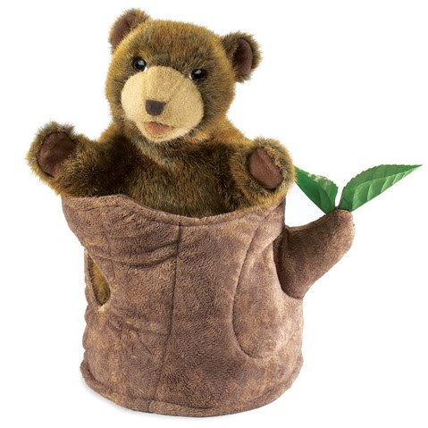 Bear in Tree Stump Puppet  |  Folkmanis