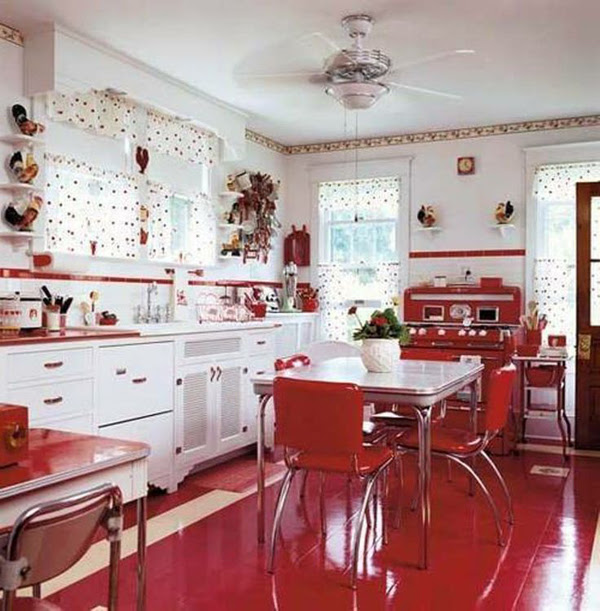 White Kitchen With Red Accents Dream House