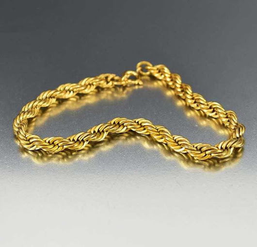 Vintage 12K Gold Filled French Rope Chain Bracelet