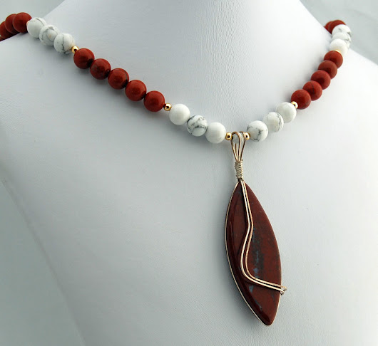 Red Jasper White Howlite Handmade Designer Pendant Necklace