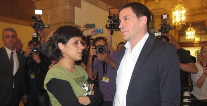 El líder abertzale, Arnaldo Otegi, junto a la diputada de la CUP Anna Gabriel.- EUROPA PRESS