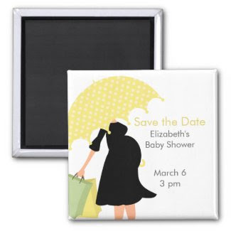 Pregnant Mom Baby Shower {yellow} Refrigerator Magnet