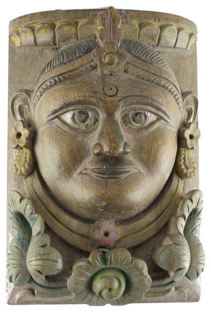 Vintage Handcarved Maharaja Wooden face - rustic - holiday ...