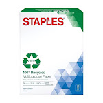 """Staples 100% Recycled  Multipurpose Paper, 8.5"""" x 11"""" - 500 sheets"""