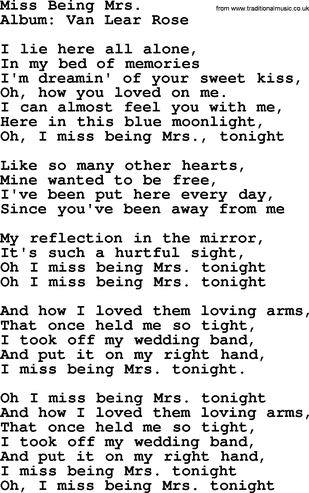 Loretta Lynn Song Miss Being Mrs Lyrics