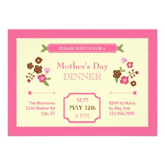 Cute Floral Mother's Day Invitation