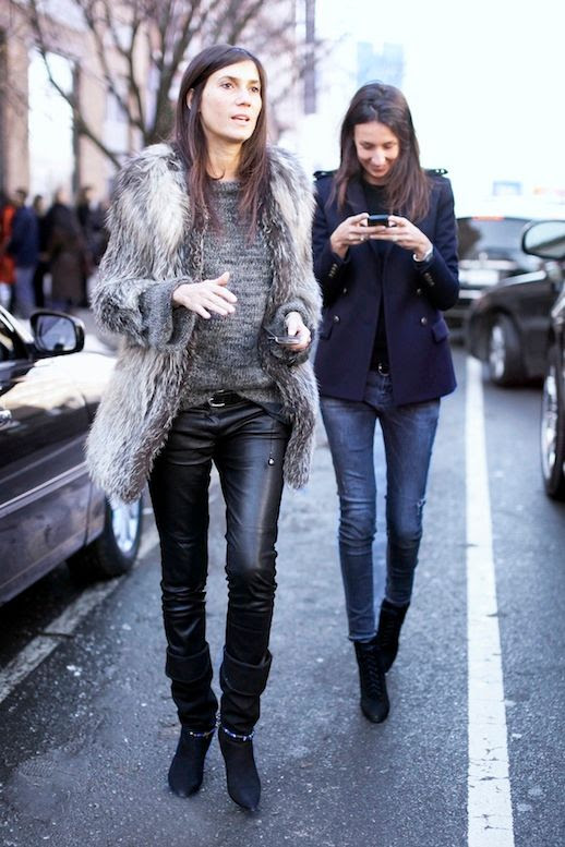 Le Fashion Blog Winter Style Vogue Paris Editors Emmanuelle Alt Geraldine Saglio Street Style New York Fashion Week Fur Coat Leather Pants Cuffed Boots Blazer Skinny Jeans Lace Up Boots Via Pop Sugar