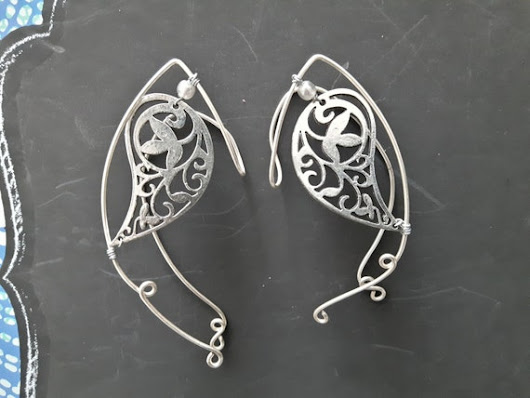Silver Elf Ear cuff Filigree wrap around earring by SalmonNaturals
