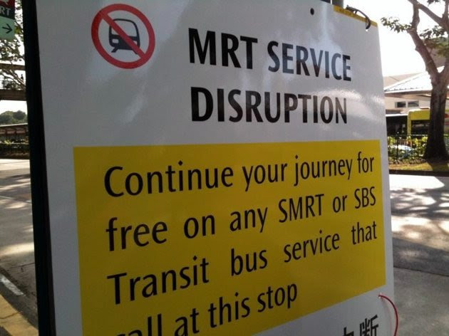 No penalty will be imposed on SMRT for the CCL breakdown last September as it is not at fault for the damaged cable, says LTA. (Yahoo! photo)