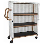 """MJM Wood Tone Three-Shelf Linen Cart with Four"""" Casters"""