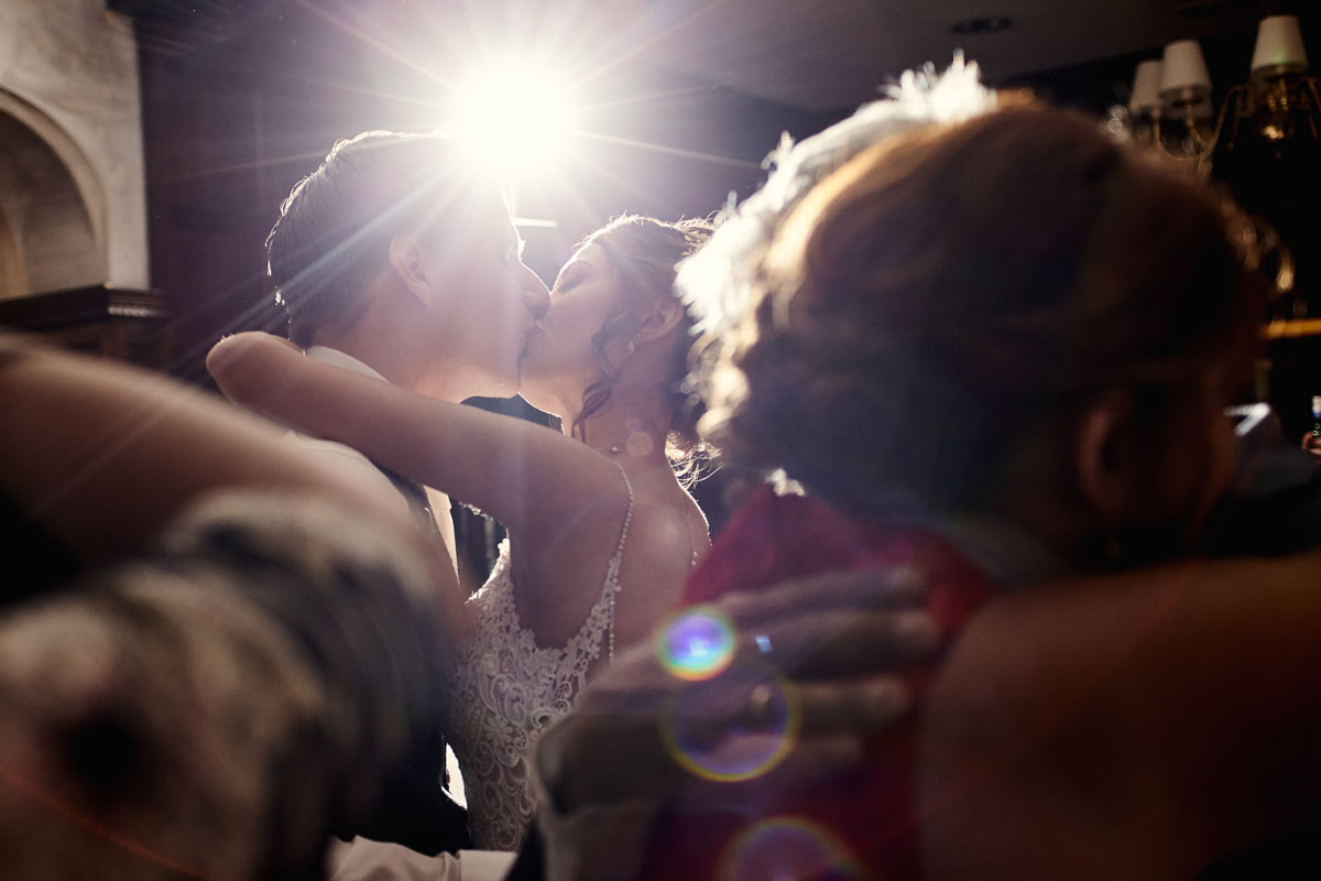 Backlit speedlight flash lit First Dance Wedding Photo at Lanwades Hall Wedding Photos - helloromancephotography.com