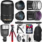 Nikon DX 18-140mm VR -3 Lens Kit + Slave Flash + Tripod - 32GB Accessory Bundle