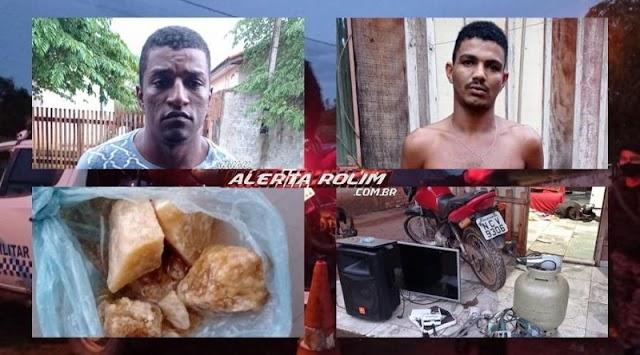 Dois homens acabaram presos pela PM em Rolim de Moura, duas motos furtadas foram recuperadas e outros vários produtos de origem duvidosa foram apreendidos