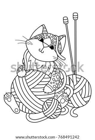 Cat Playing Yarn Ball Stock Vectors, Images & Vector Art ...