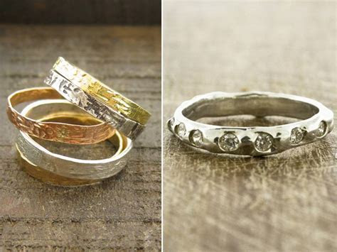 Recycled white gold, yellow gold and rose gold wedding