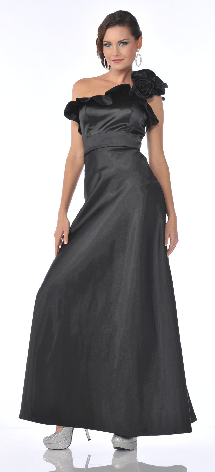black one strap rosette satin long formal gown dress 3