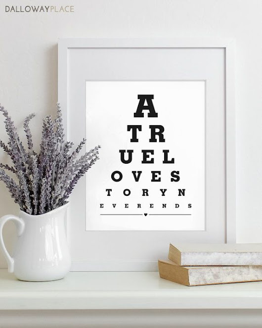 Wall decor ideas: Eye chart art