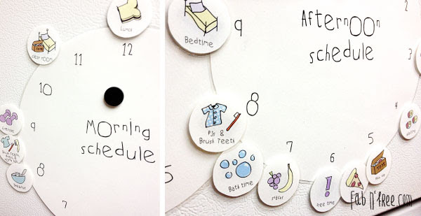 Free Printable Kids Clock Schedule with Morning and Afternoon Clock