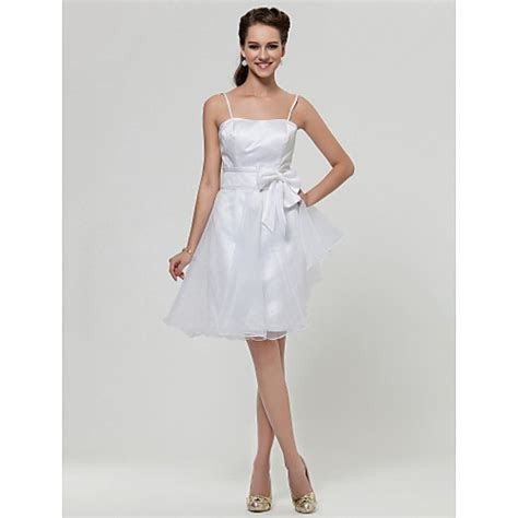 Knee length Satin / Organza Bridesmaid Dress   White Plus