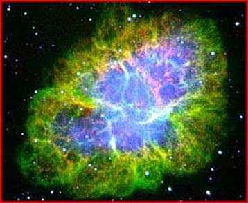 Κατάλοιπα από το Νεφέλωμα του Καρκίνου που στο κέντρο του υπάρχει ένα πάλσαρ με περίοδο περιστροφής 30 φορές το δευτερόλεπτο