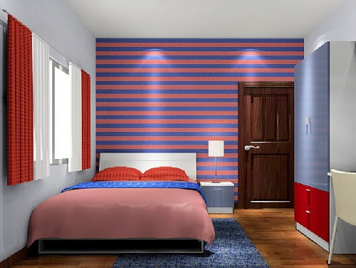 Desain Interior Kamar Tidur Minimalis Dengan Warna Biru