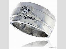 Sterling Silver Wide Band Ring Heart CZ   SilverBlings