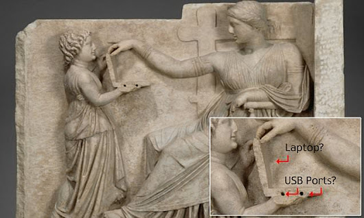 Conspiracy theorists claim ancient Greek statue is holding a laptop