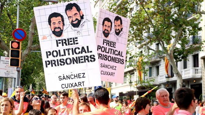 Manifestació per demanar l'alliberament dels polítics presos