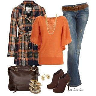 Keep the coat and toss the rest....add orange Hunter boots, messenger bad, dark denim jeans, rich cream shirt, and a beanie with a lid.