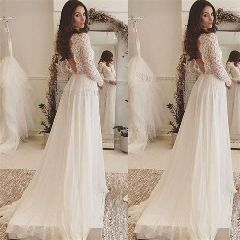 Simple A Line Wedding Dress   Bateau Long Sleeves Sweep