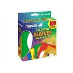 Maxell 190134 Multi-Color Cd/Dvd Sleeves 50Pk