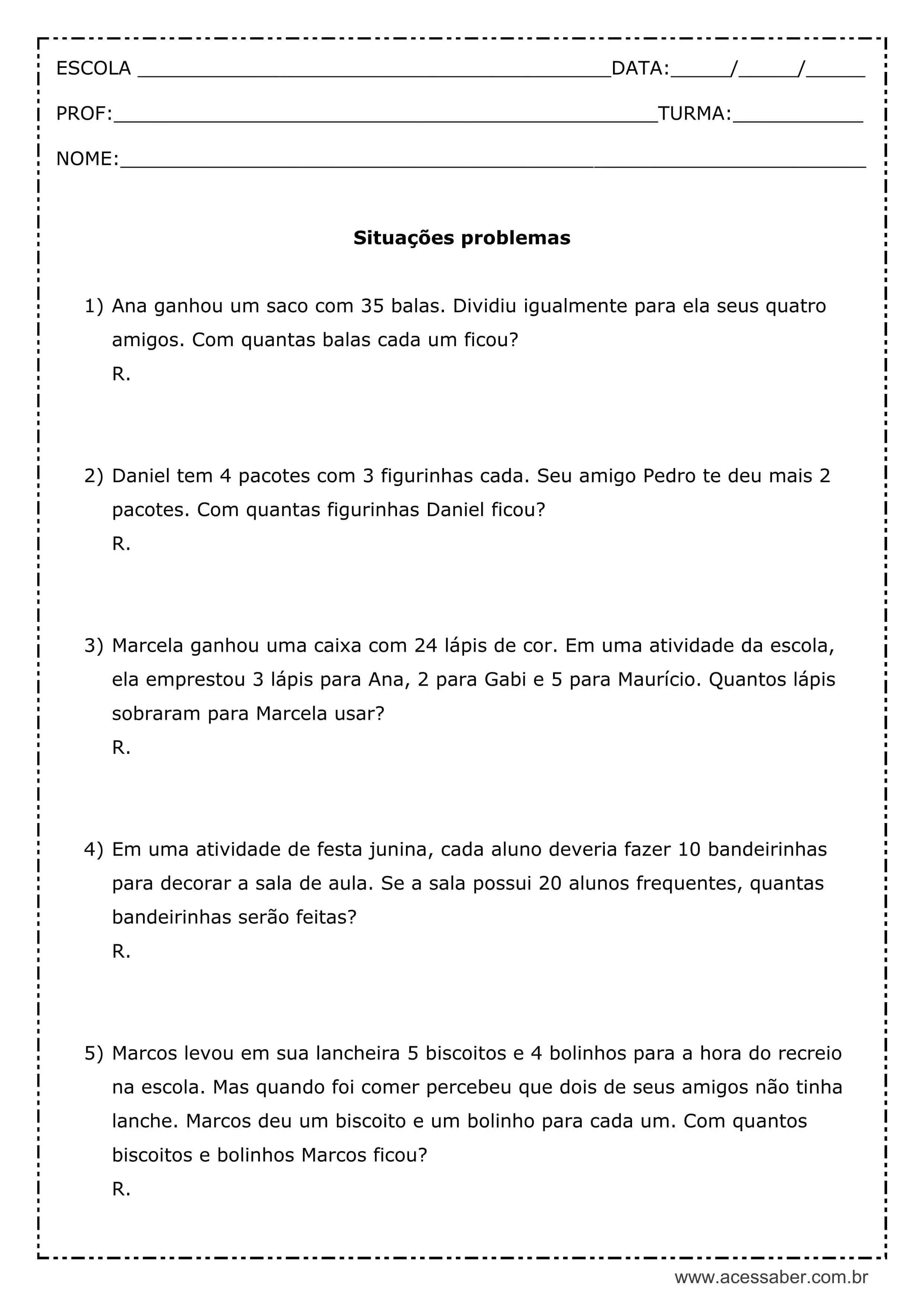 Atividade De Matematica Situacoes Problemas 4º Ano Acessaber