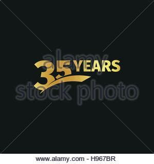 Isolated abstract golden 35th anniversary logo on white