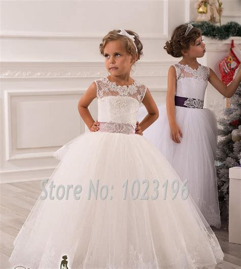 Hot Real Image Ivory White Lace Flower Girls Dresses 2015
