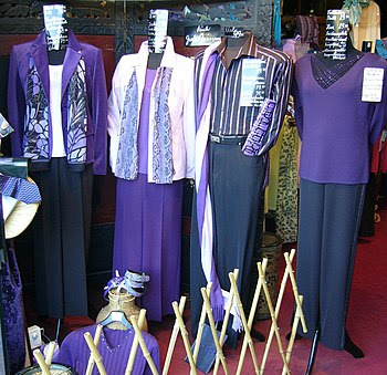 Male and female clothes in lilac