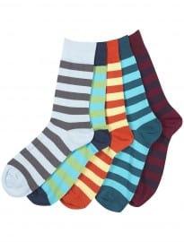 Topman Block Striped 5 Pack Socks