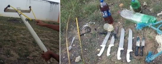 Estilingue gigante era usado para arremessar drogas e armas