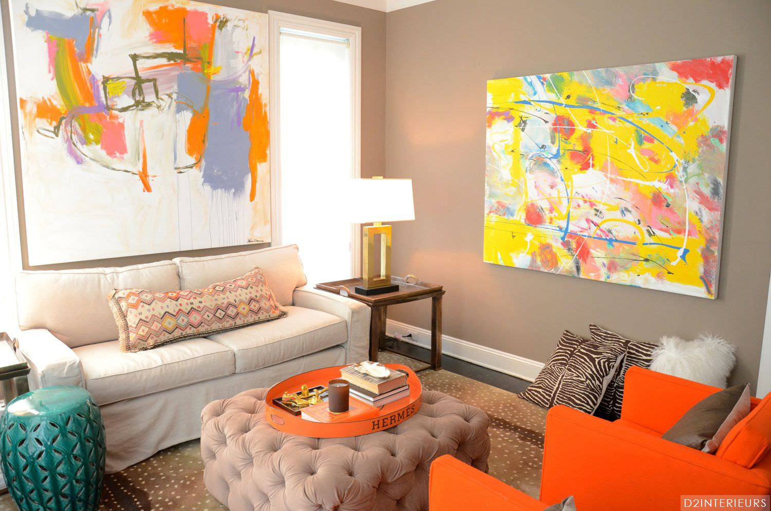 Orange  And Green Living  Room  Decorating Ideas