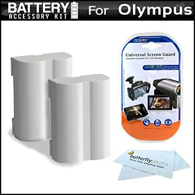 2 Pack Battery Kit For Olympus E-5 Digital SLR Camera Includes 2 Extended (1800 Mah) Replacement BLM-5 Batteries + LCD Screen Protectors + MicroFiber Cleaning Cloth