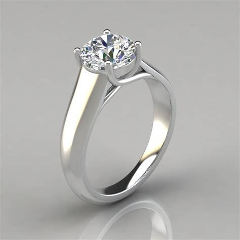 Lucida Wide Band Solitaire Engagement Ring   PureGemsJewels