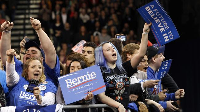 Supporters shout for Democratic presidential candidate Bernie Sanders as he speaks at a campaign rally Monday, April 11, 2016, in Buffalo, New York. Picture: Mel Evans/AP
