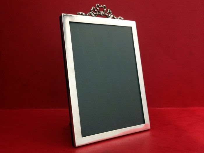 Antique Sterling Silver Picture Frame Bow Top Design Interior