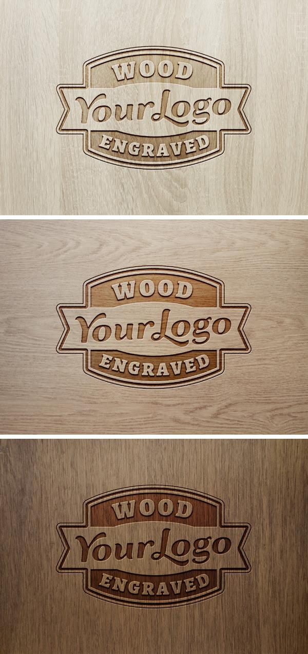 Wood Engraved Logo MockUp #2 | GraphicBurger