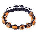 Orange CZ Gold-Tone Black Cord Adjustable Macrame Bracelet