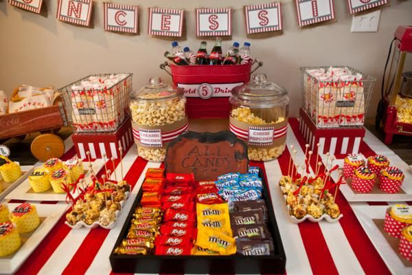 Darling vintage movie party.  Both kids and adults attended. Could do indoors or out.