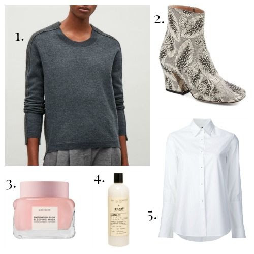 COS Sweater - Dried van Noten Boots - Glow Recipe Sleeping Mask - The Laundress Detergent - Misha Nonoo Shirt