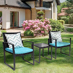 Black Wicker Furniture - 3 Piece Bistro Set for Outdoor Conversation - 2 Cushioned Rattan Chairs with Glass Coffee Table (Color: Coffee)